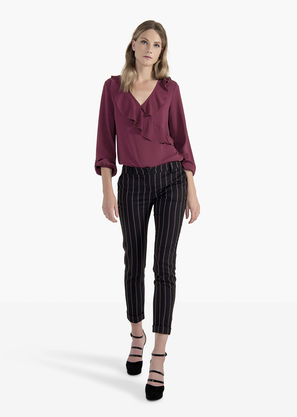 Trousers Phil in poliviscose pinstripe pattern - Blue / Amarena Stripes - Woman