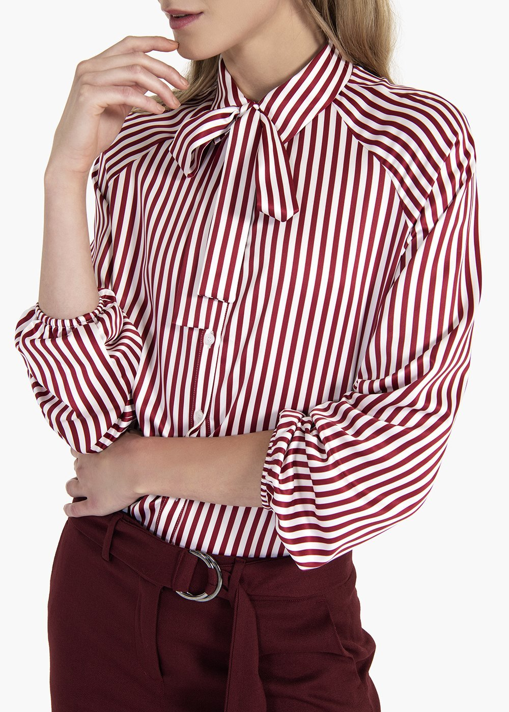 Striped blouse Carla with scarf - White / Amarena Stripes - Woman