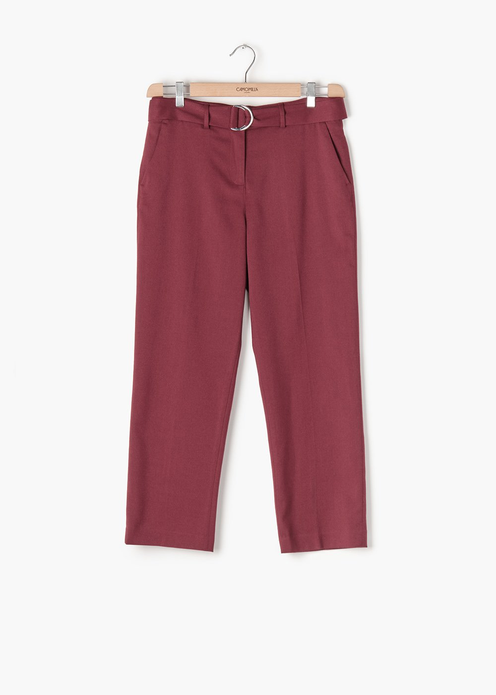 Poly viscose slim-fitting trousers  Portos and belt with double buckle - Black cherry - Woman