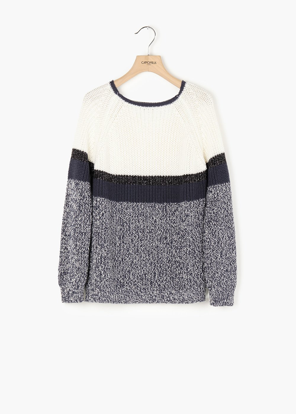 Mael sweater with round neckline and raglan sleeves - Medium Blue\ White\ Stripes - Woman