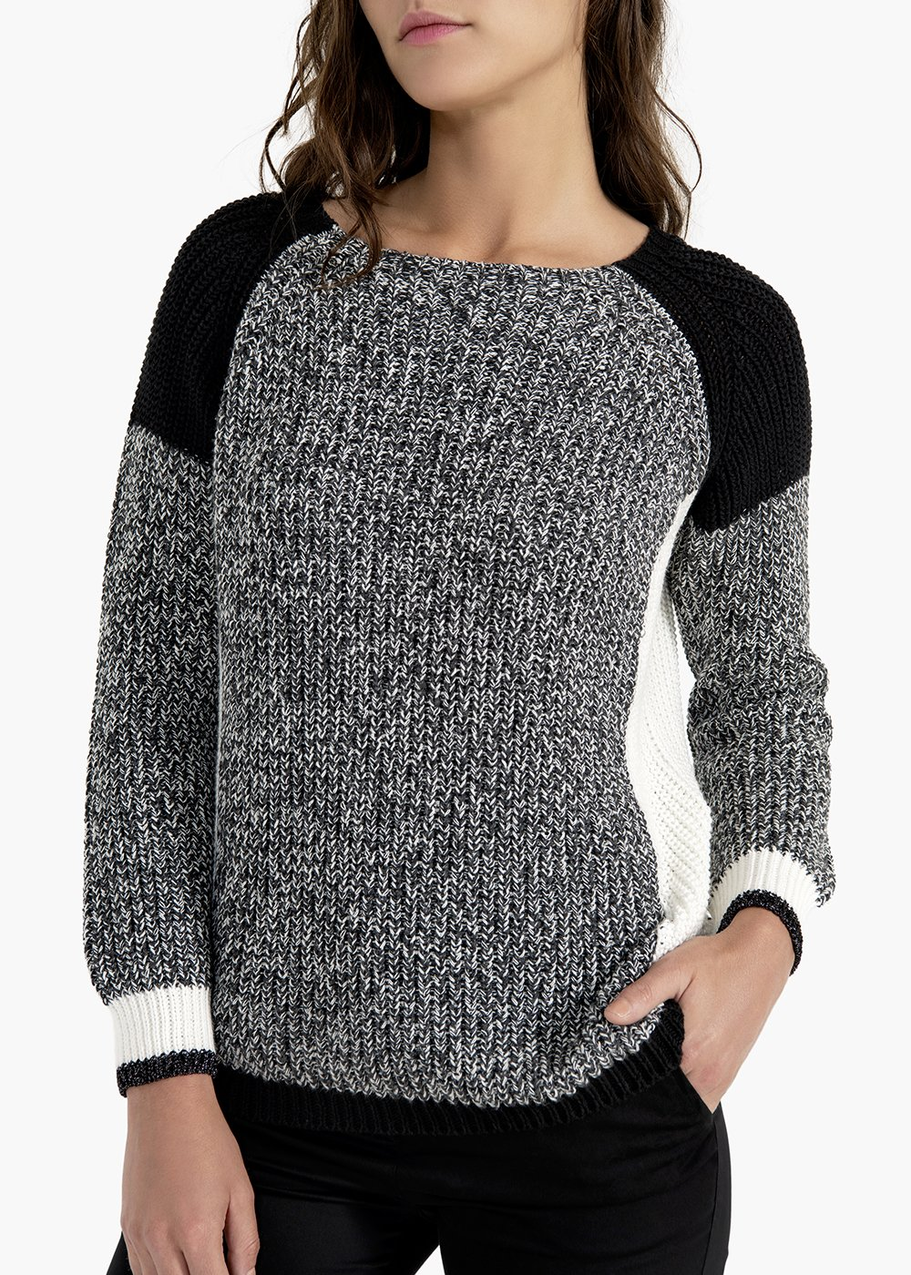 Marin sweater with salt and pepper effect and raglan sleeves - Black /  White - Woman