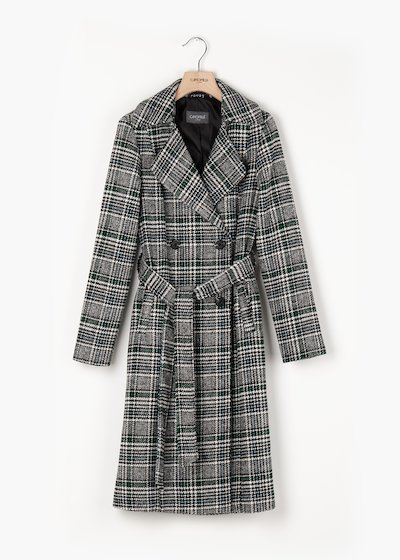 Double-breasted coat Tyler with trench effect in check cloth pattern