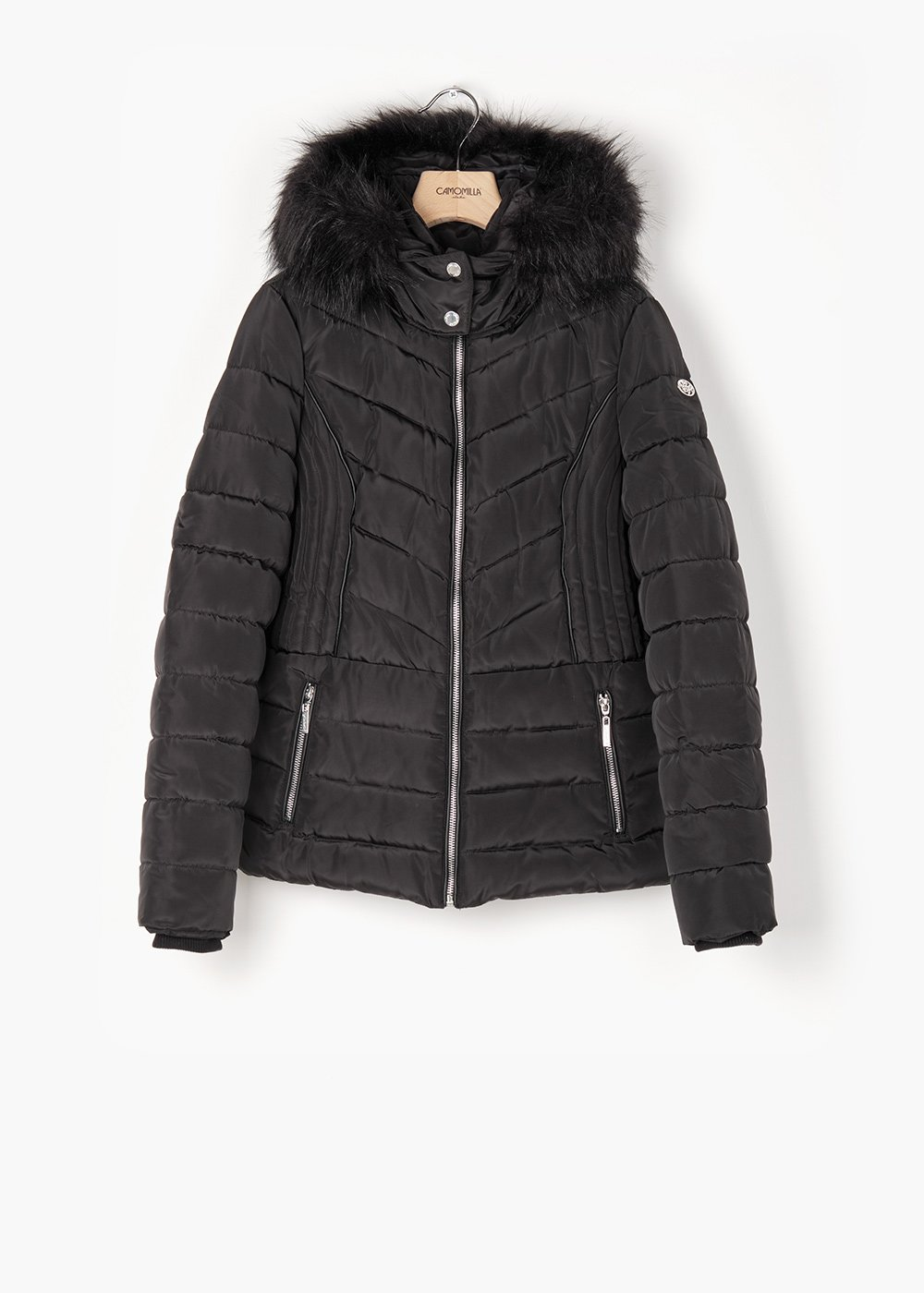 Quilted jacket Pixy with eco-fur hood - Black - Woman