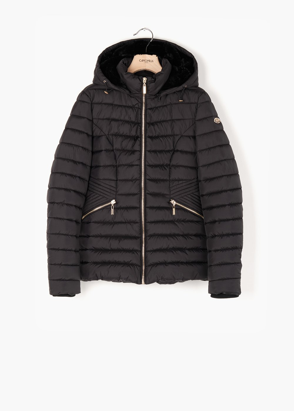 Quilted jacket George with hood in eco fur - Black - Woman