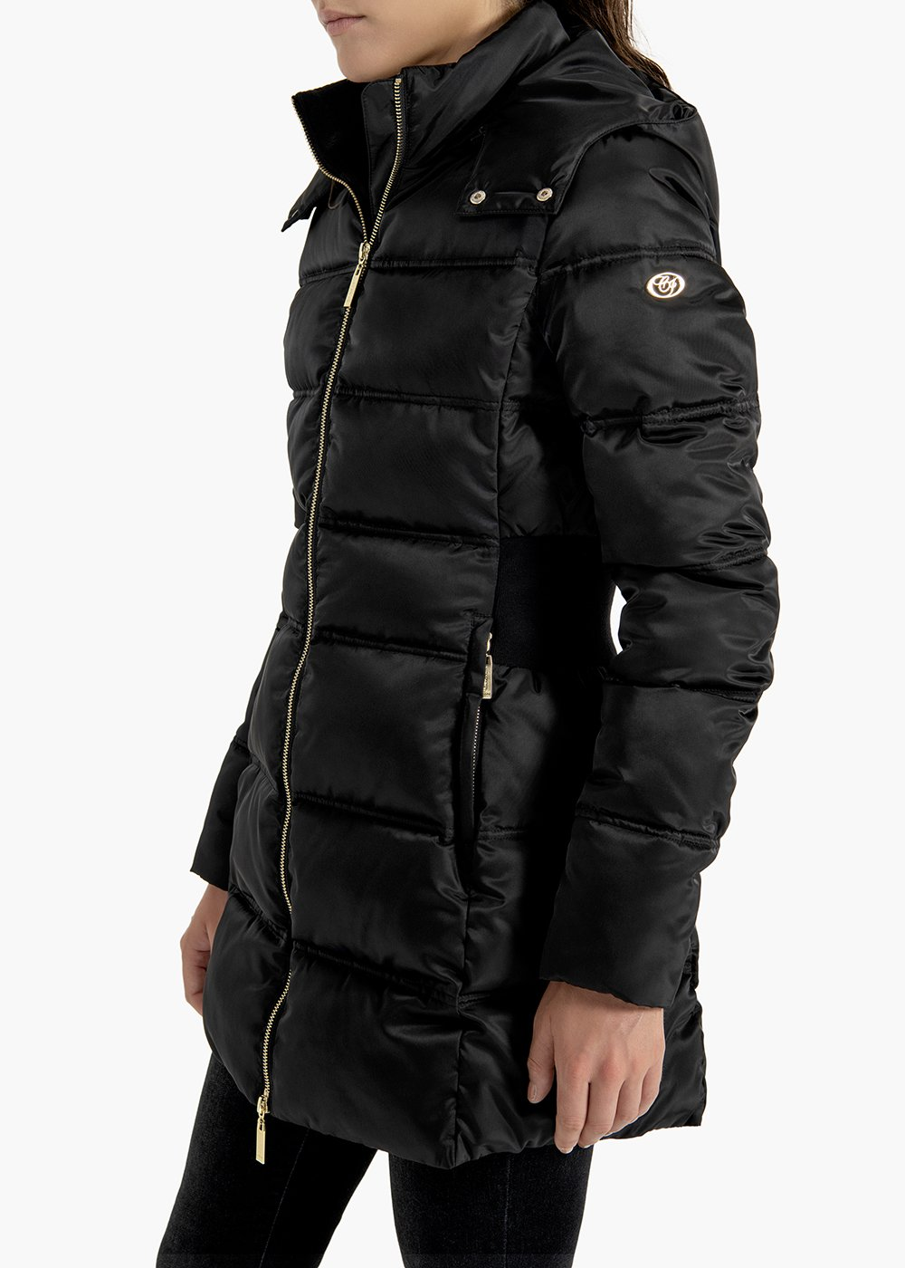 Long quilted jacket Palmer with hood and elastic band on tha back - Black - Woman