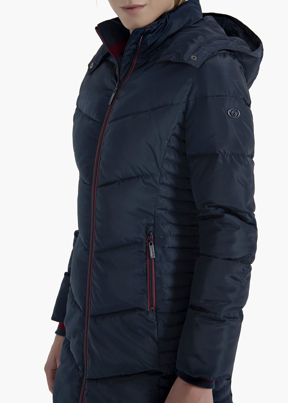 Quilted jacket Porthos with hood and contrast stitching - Medium Blue - Woman