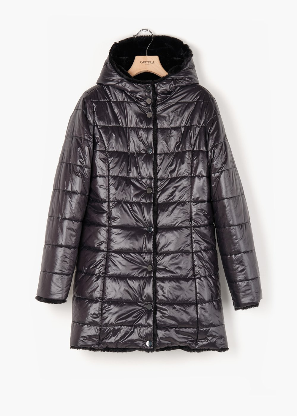 Reversible Preston quilted  jacket in shiny fabric and eco-fur - Black - Woman