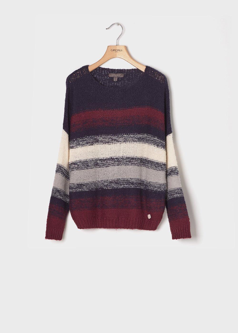 Sweater with striped pattern - Medium Blue / Amarena Stripes - Woman