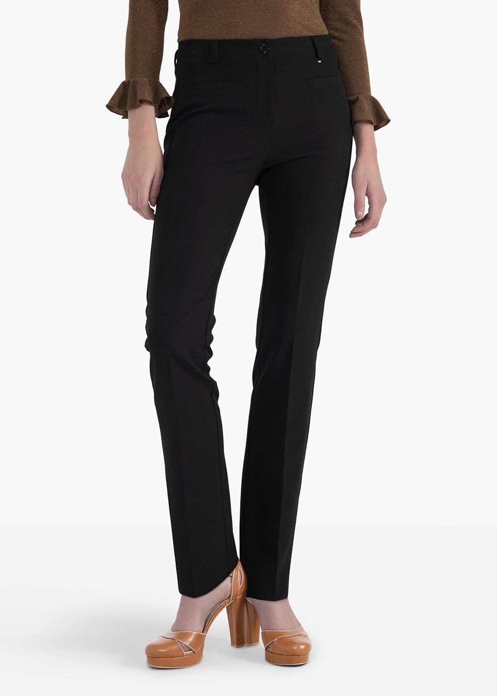 Pantaloni Miranda con doppio filetto sul davanti e sul retro - Black - Donna