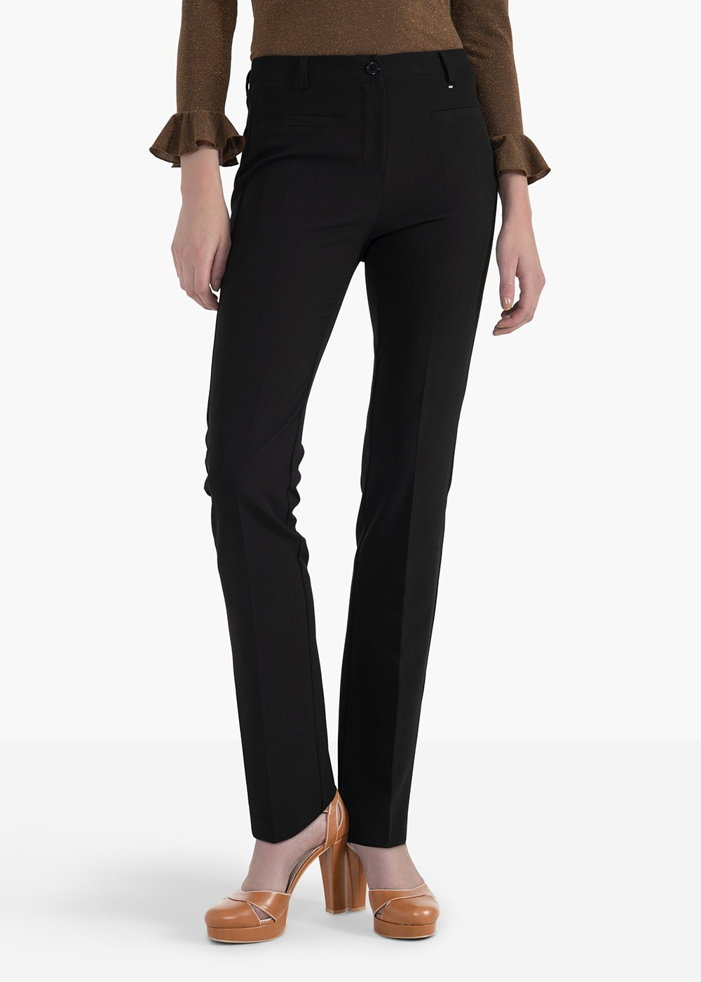 Miranda pants with double thread on the front and back - Black - Woman
