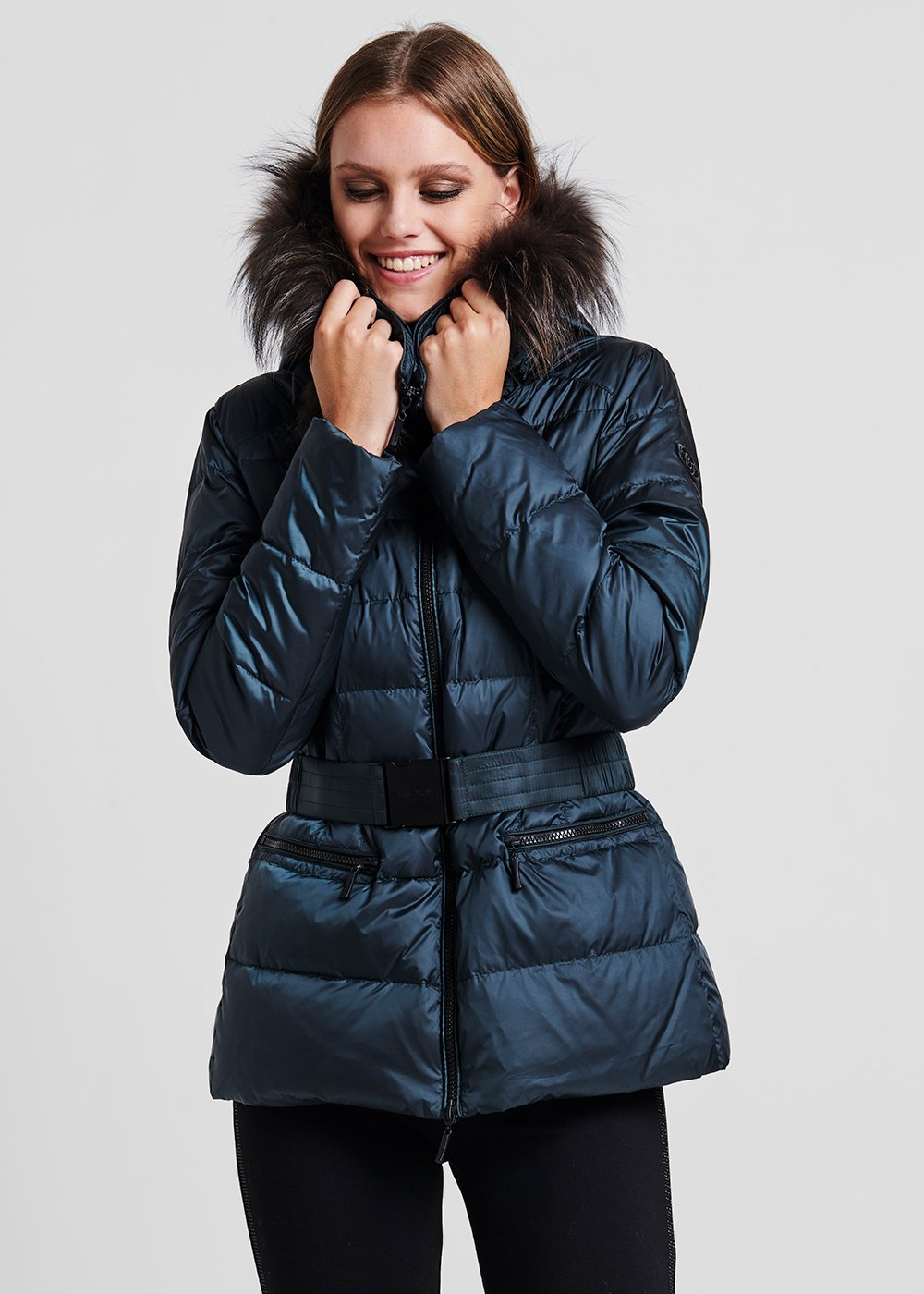 Long down jacket in goose down with belt - Pino - Woman