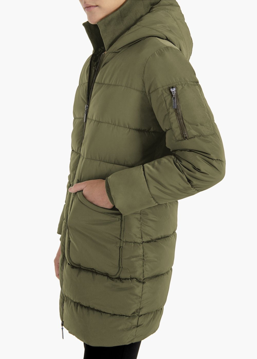 Medium length quilted jacket Pavel with hood