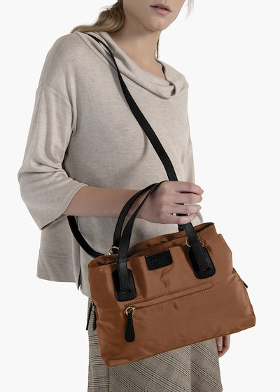 Multi-compartment nylon double color bag Bradly with eco leather inserts
