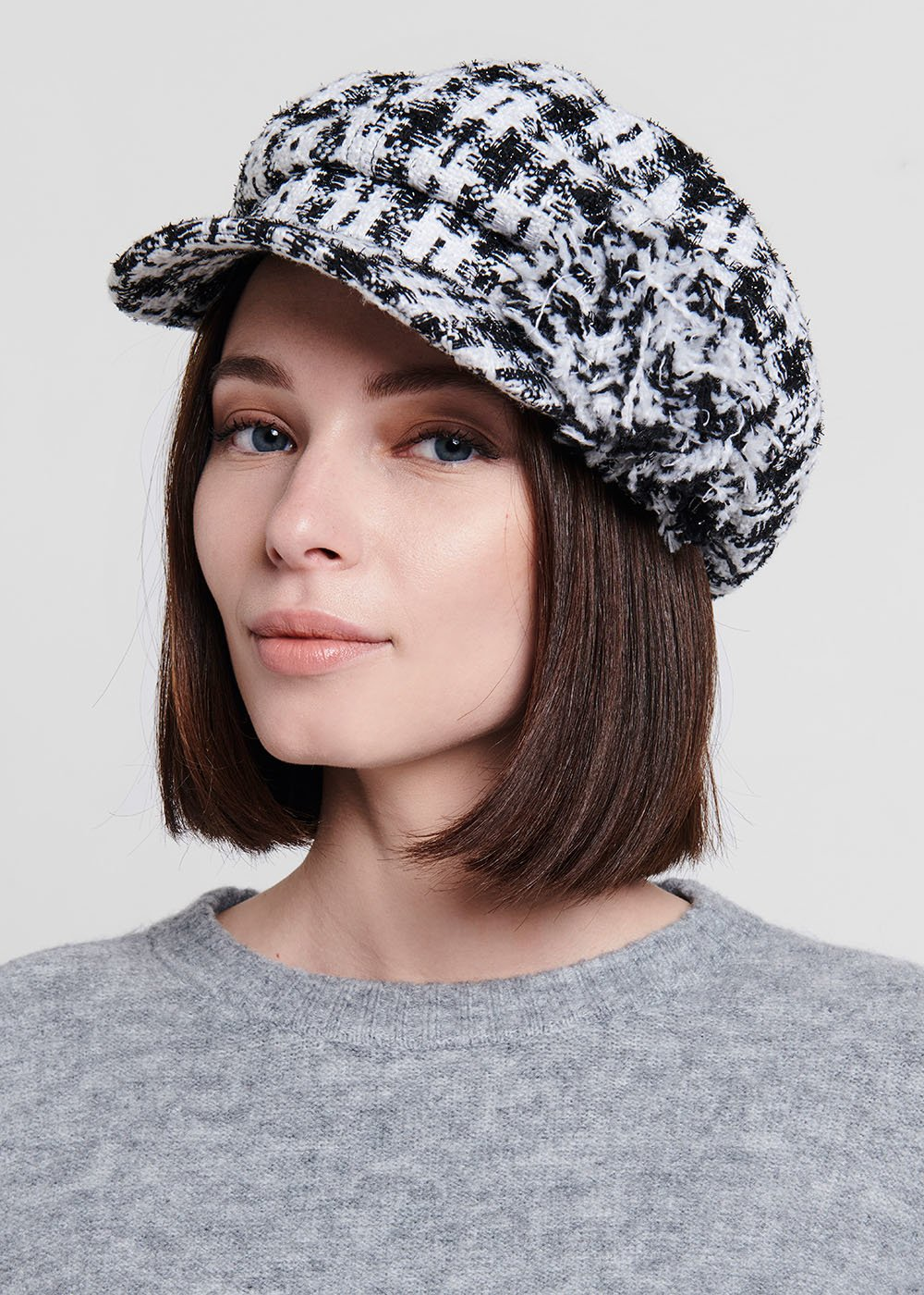 Camelis beret in bouclè fabric - Black / White Fantasia - Woman