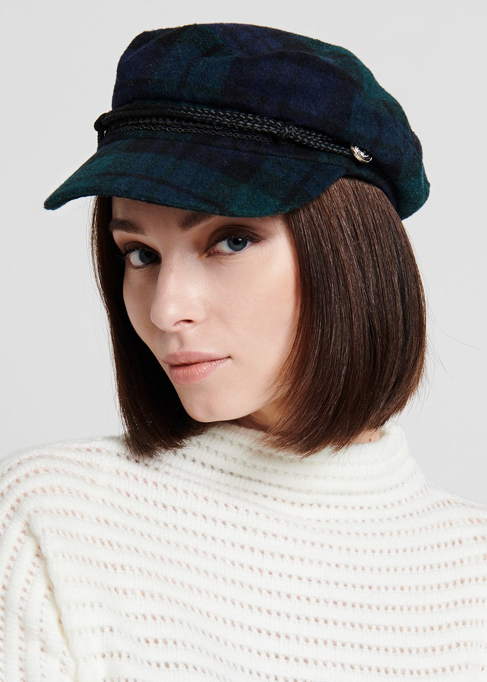 Tartan Crimb beret - Medium Blue / Benzina - Woman
