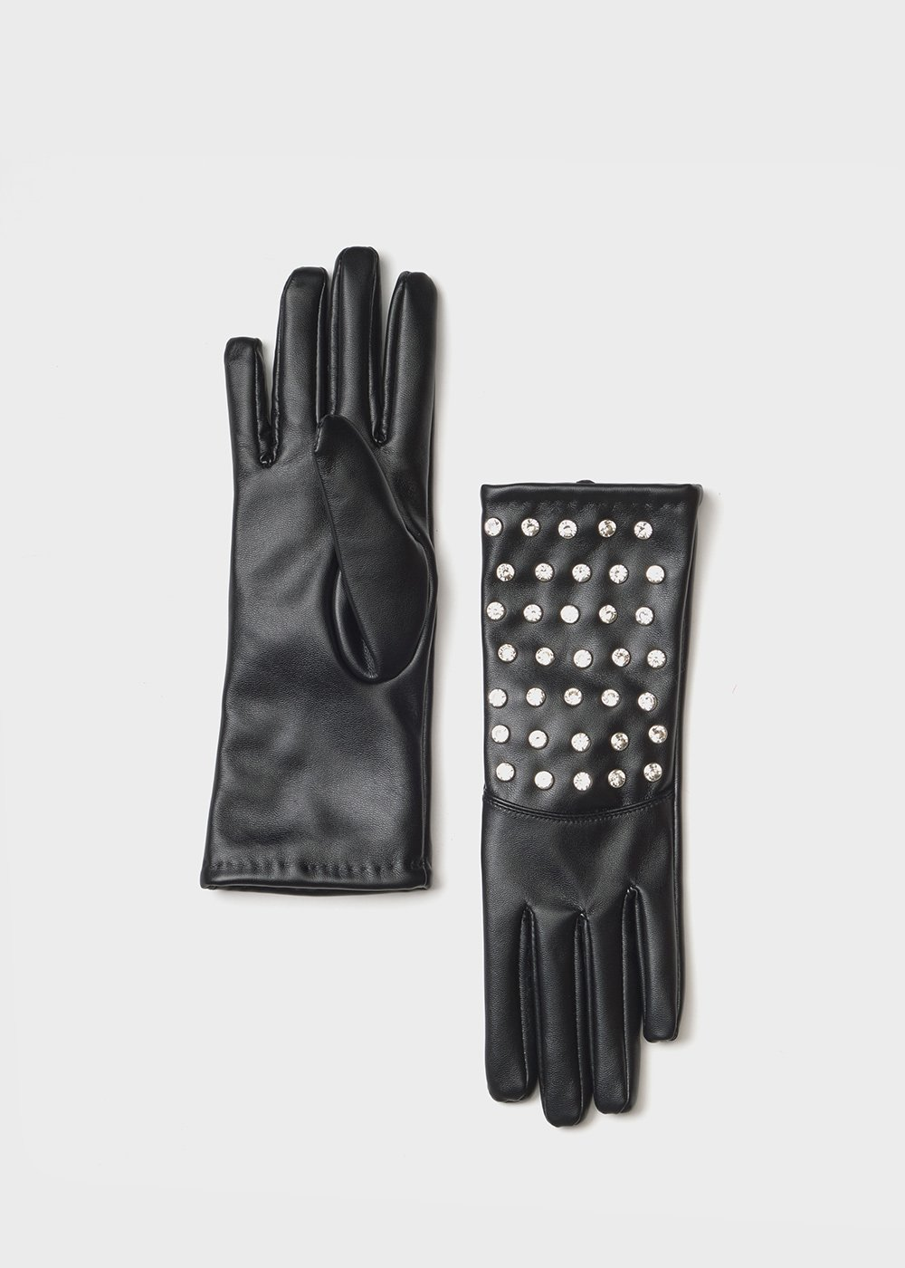 Gianet gloves with crystals - Black - Woman