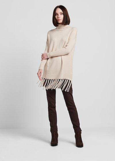Turtleneck viscose sweater with bottom fringes