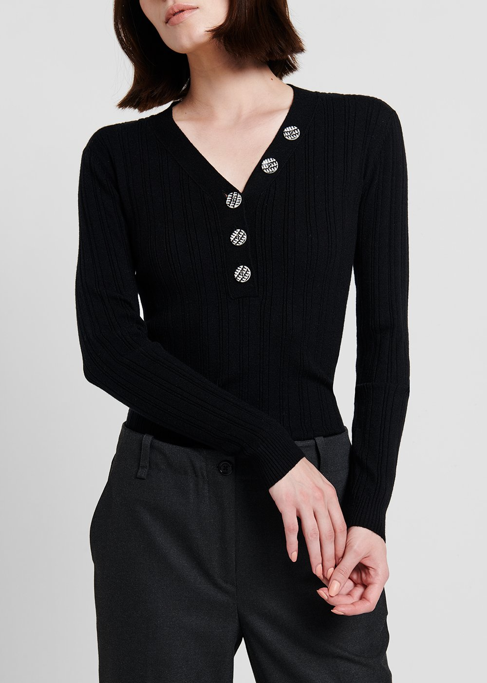 Ribbed viscose sweater with V-neck