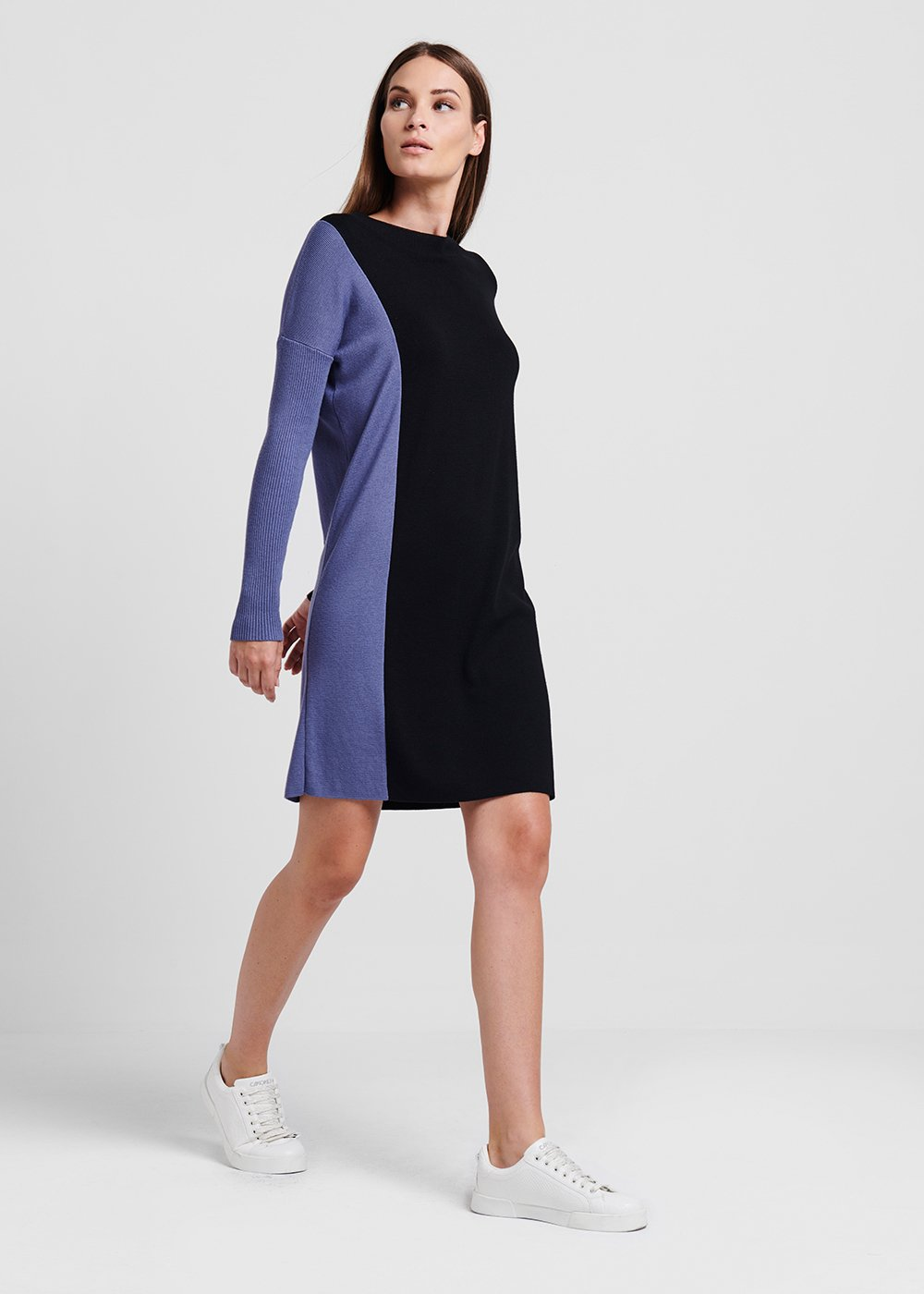 Knit dress in two-tone viscose - Black / Materia - Woman