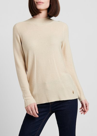 Narrow-ribbed round-neck sweater