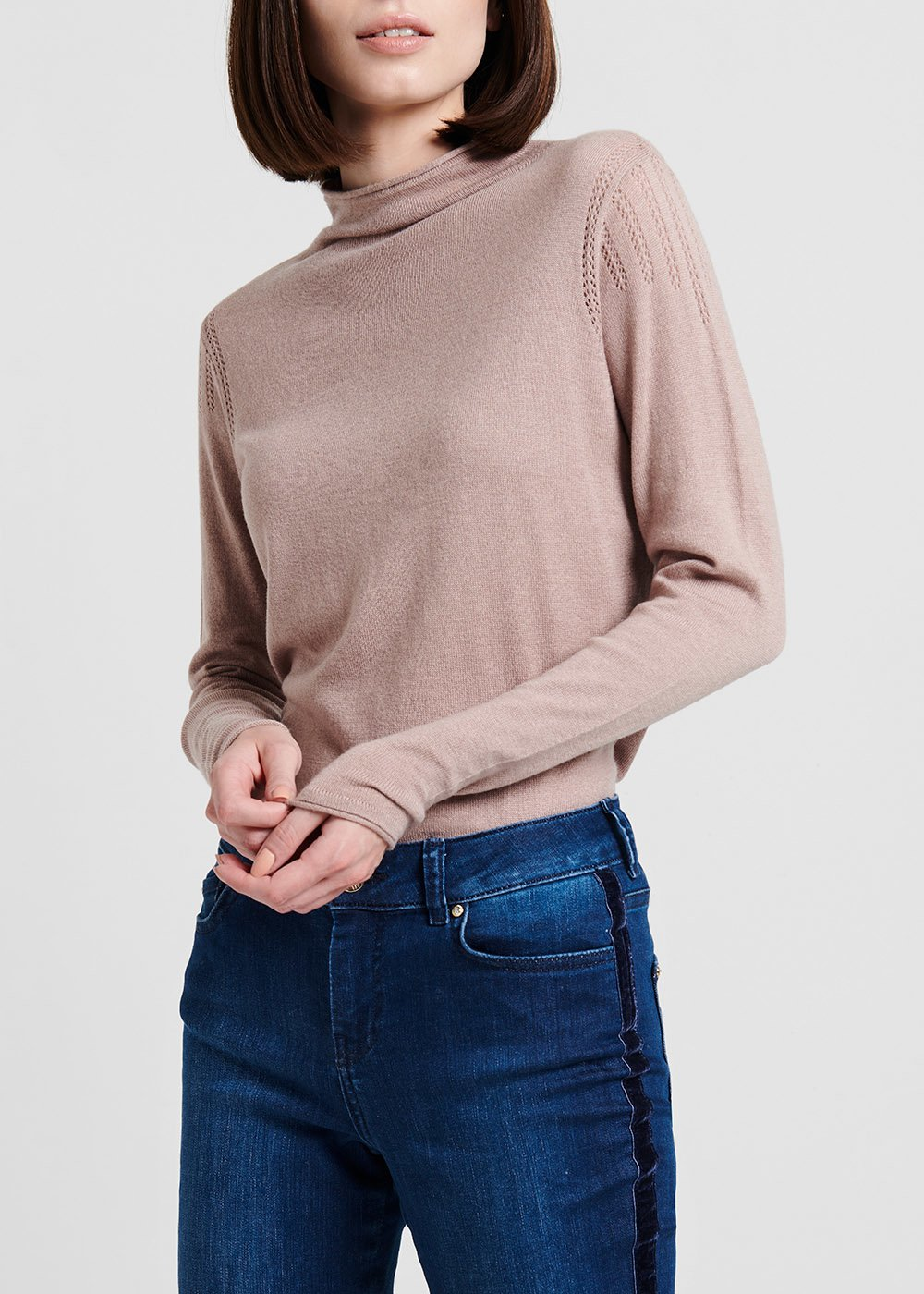 Sweater with wool with crater neck, solvent – coloured - Grey - Woman