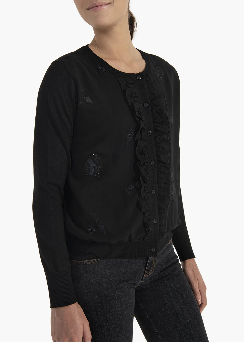 Cardigan Cory with georgette rouches detail on the front - Black - Woman