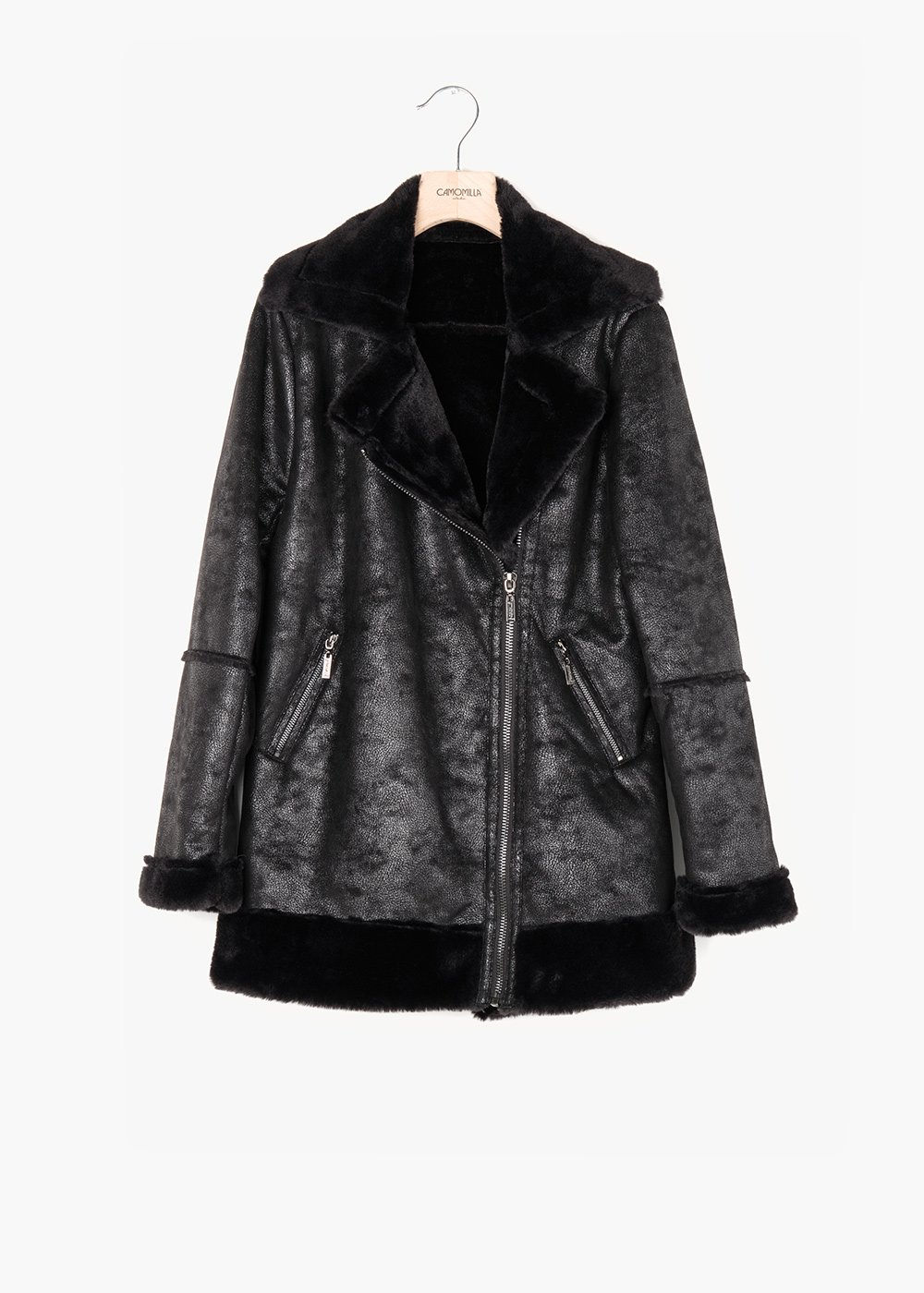 Eco sheepskin used effect Gady - Black - Woman