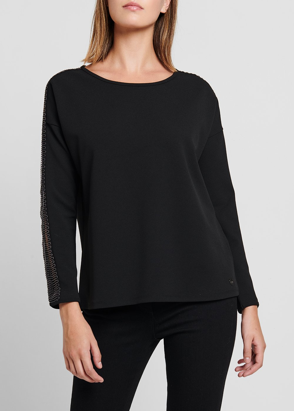 T-shirt in crêpe with boat neck - Black - Woman