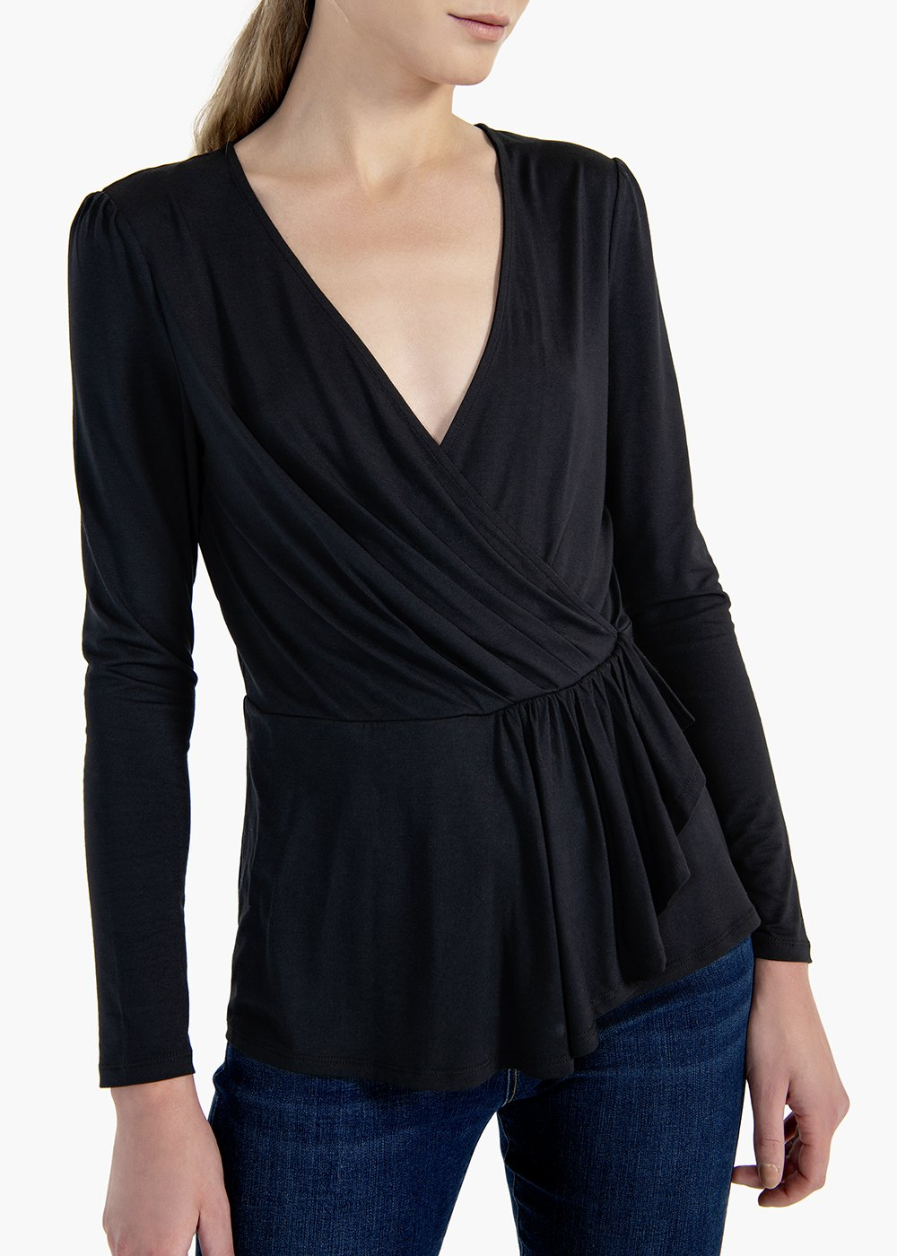 T-shirt in viscose jersey Stefy with crossover neckline - Black - Woman