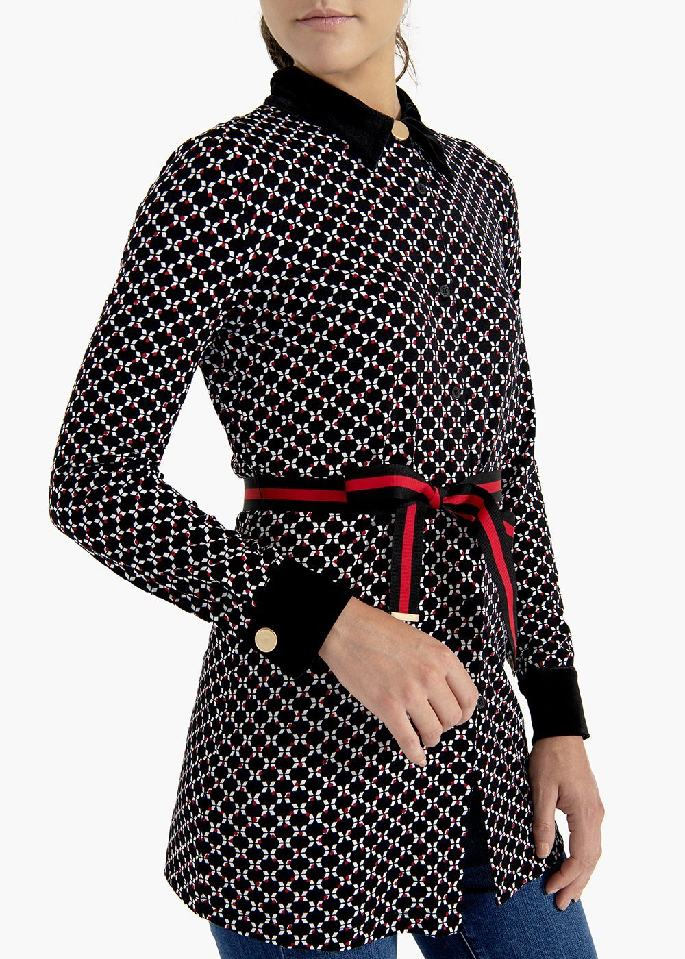 T-shirt Sabrin in micro geometric pattern viscose jersey - Black / White Fantasia - Woman
