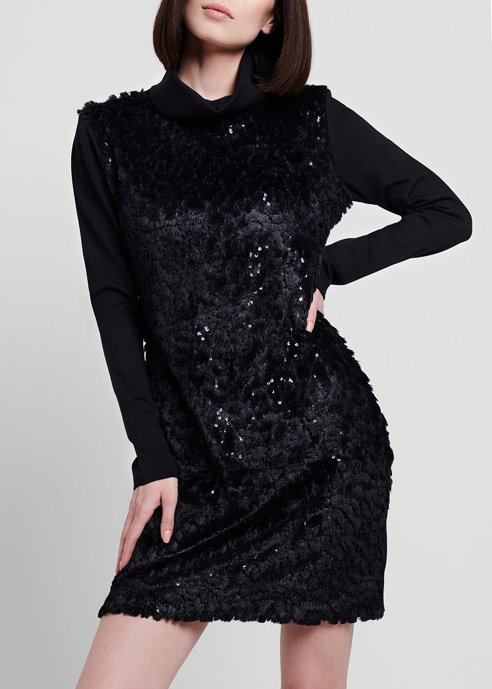 Dress in milano stitch with faux - fur panel - Black - Woman