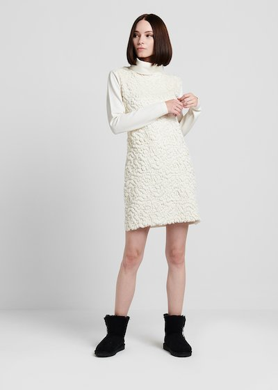 Dress in milano stitch with faux - fur panel
