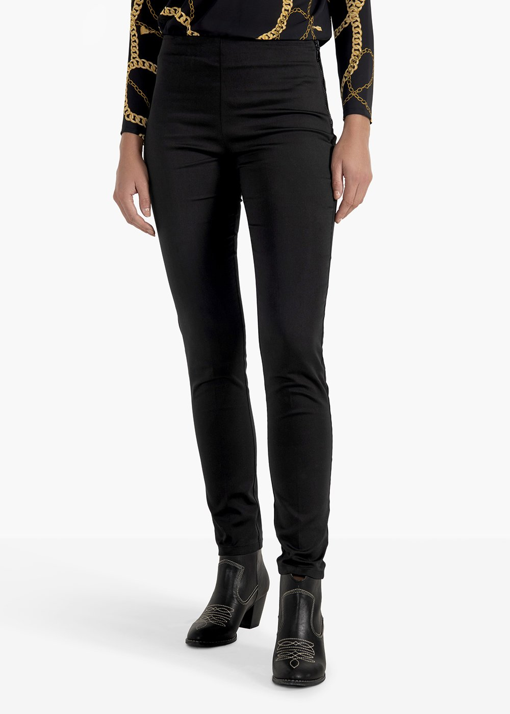 Claudia trousers with die-cast zip - Black - Woman