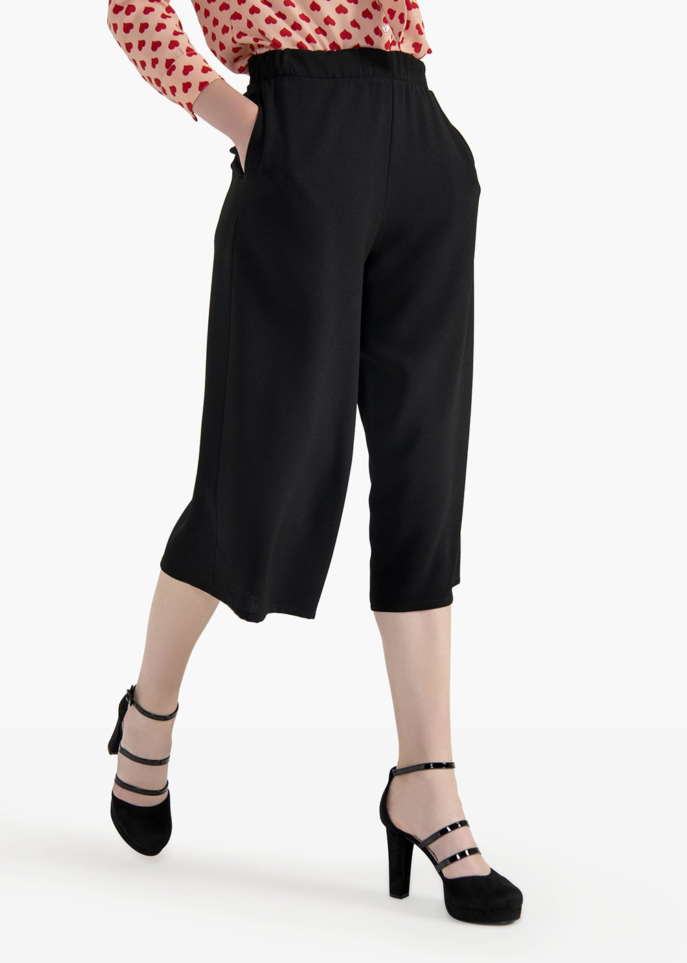 Megan crêpe pants with pockets - Black - Woman