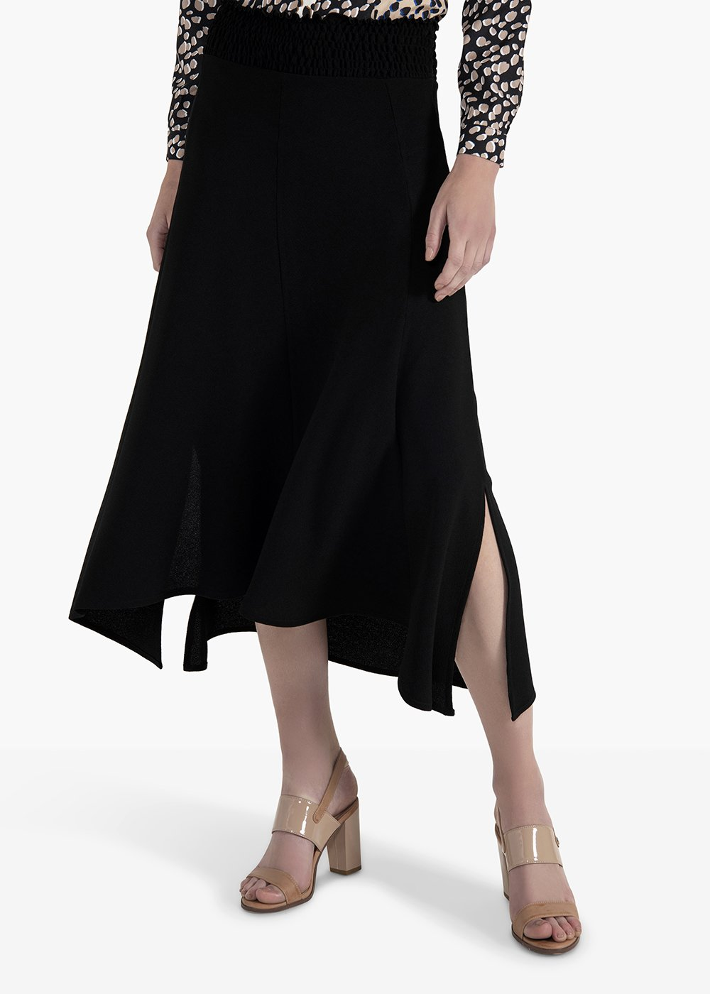 Ginevra skirt with elastic waistnad and side slit - Black - Woman