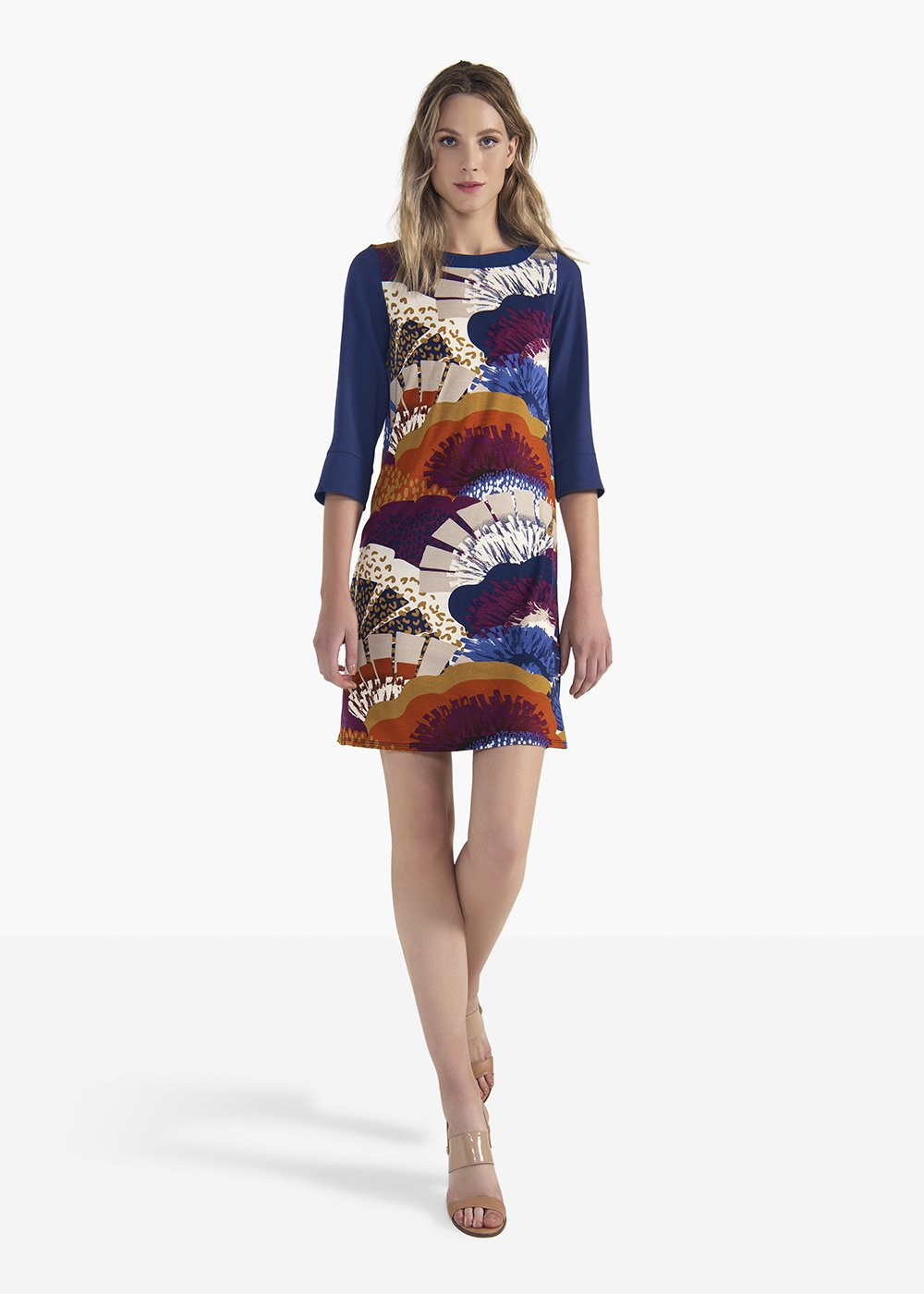 Adrian dress in viscose jersey with crepe sleeves - Avion / Mostarda Fantasia - Woman