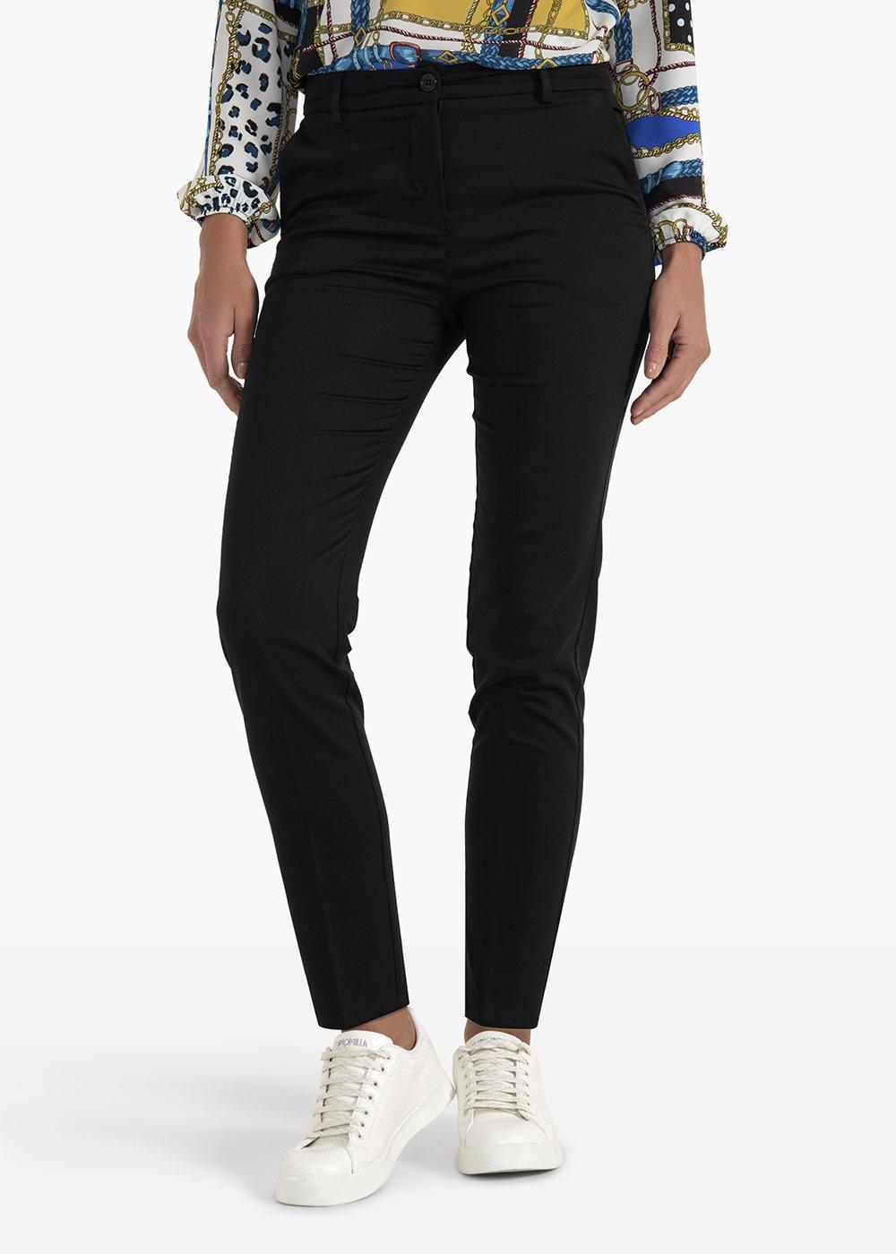 Clair pants Hunter  model in polycotton - Black - Woman