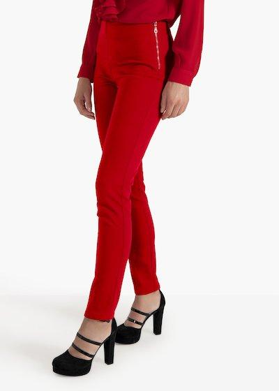 Pantaloni Claudia in tessuto tecnico con zip a lato