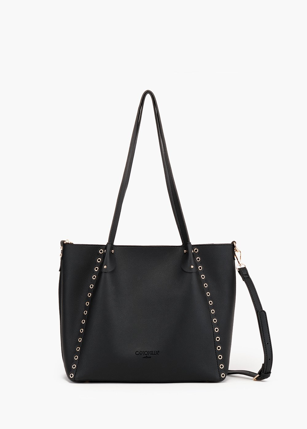 Bryan shopping bag in unlined eco leather with scalloped decoration - Black - Woman