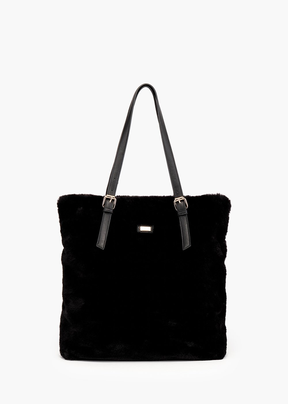 Shopping bag Buly in eco-fur and faux leather inserts - Black - Woman