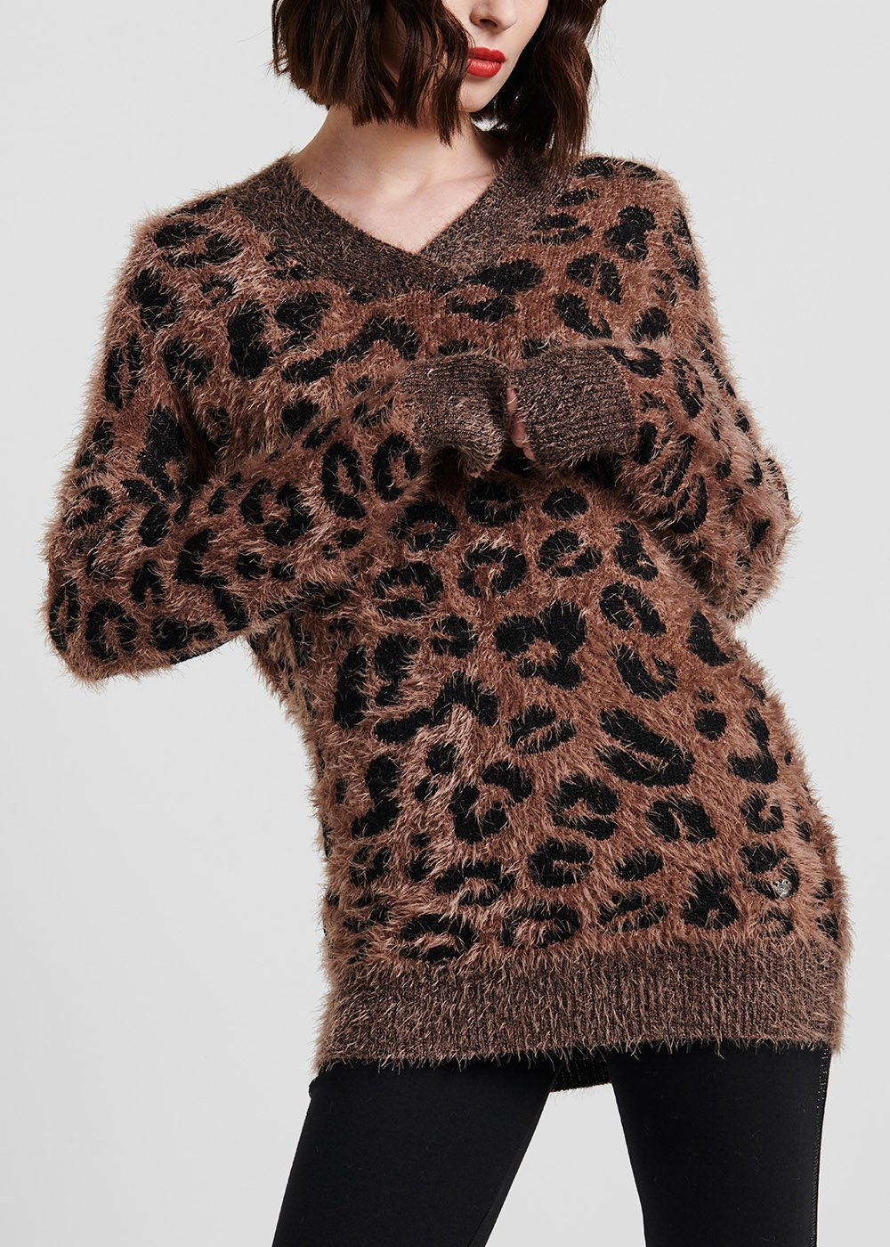 V-neck fur-effect sweater - Suolo / Black Animalier - Woman