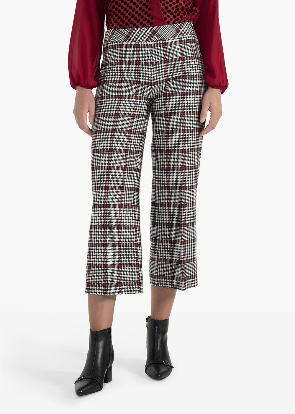 Megan model trousers Plinio in check fabric - White / Black Fantasia - Woman