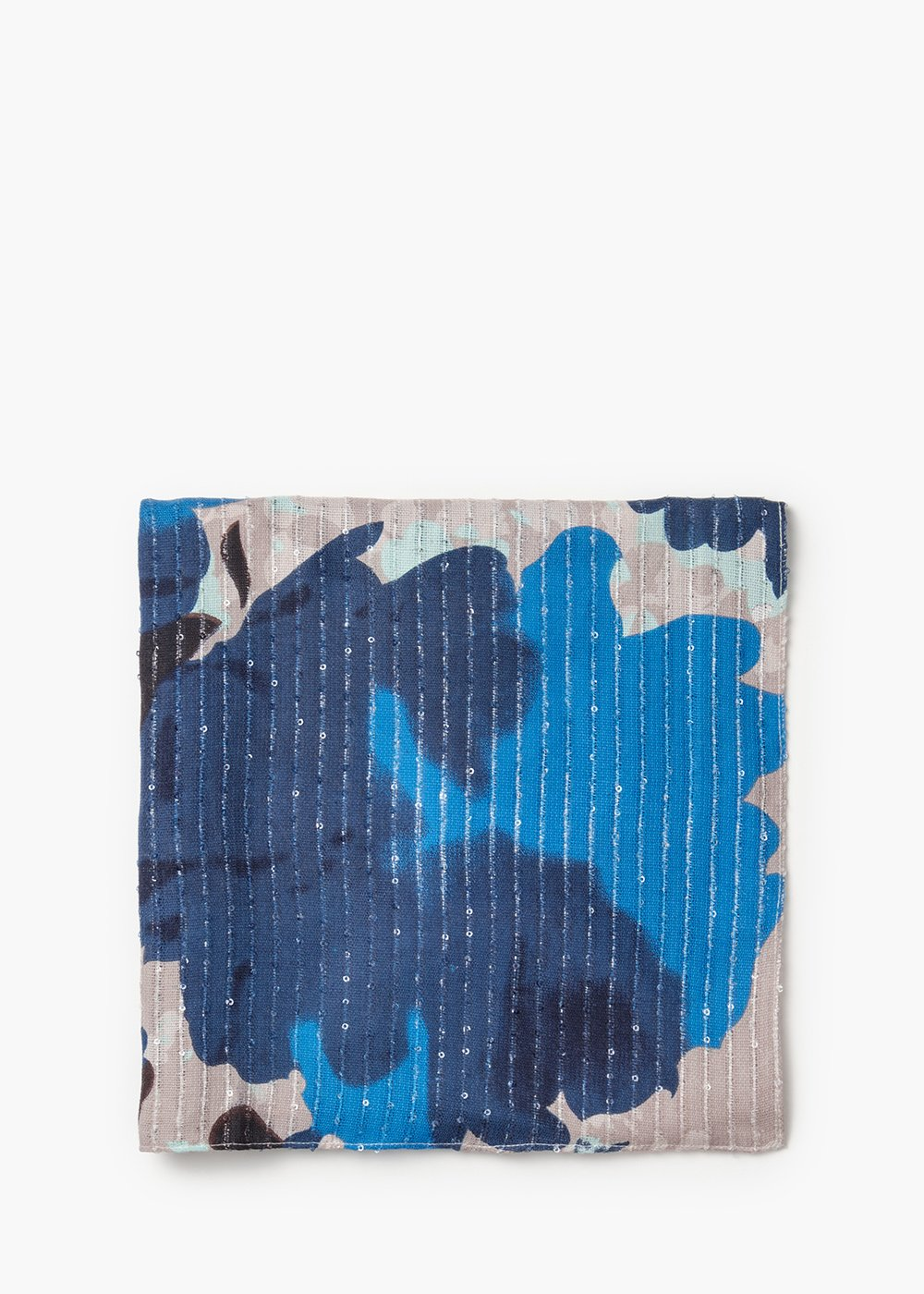 Scarf Stream maxi abstract flowers print - Desert /   Cobalto Fantasia - Woman
