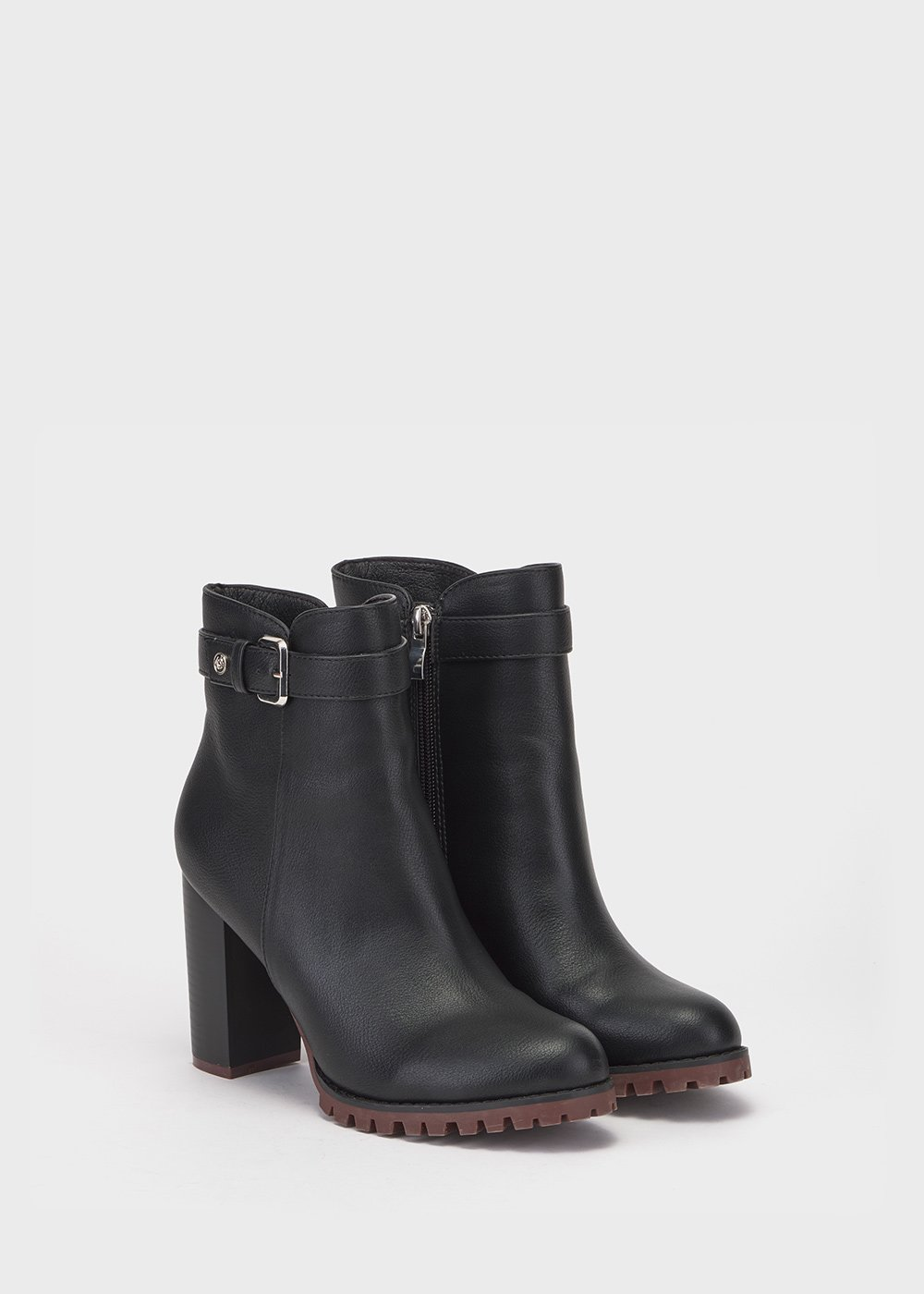 Seed faux-leather ankle boots - Black - Woman