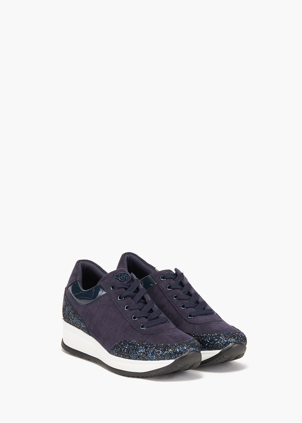 Gym shoes Stay in eco suede and glitter decoration - Medium Blue - Woman