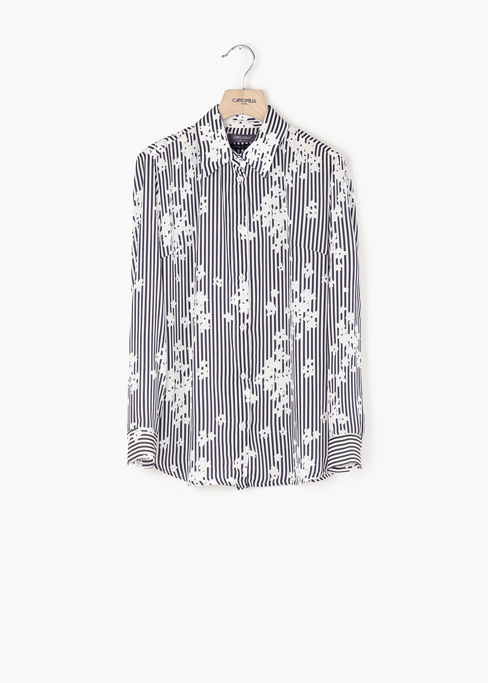 Alessia blouse with striped and flower print - White / Blue Stripes - Woman
