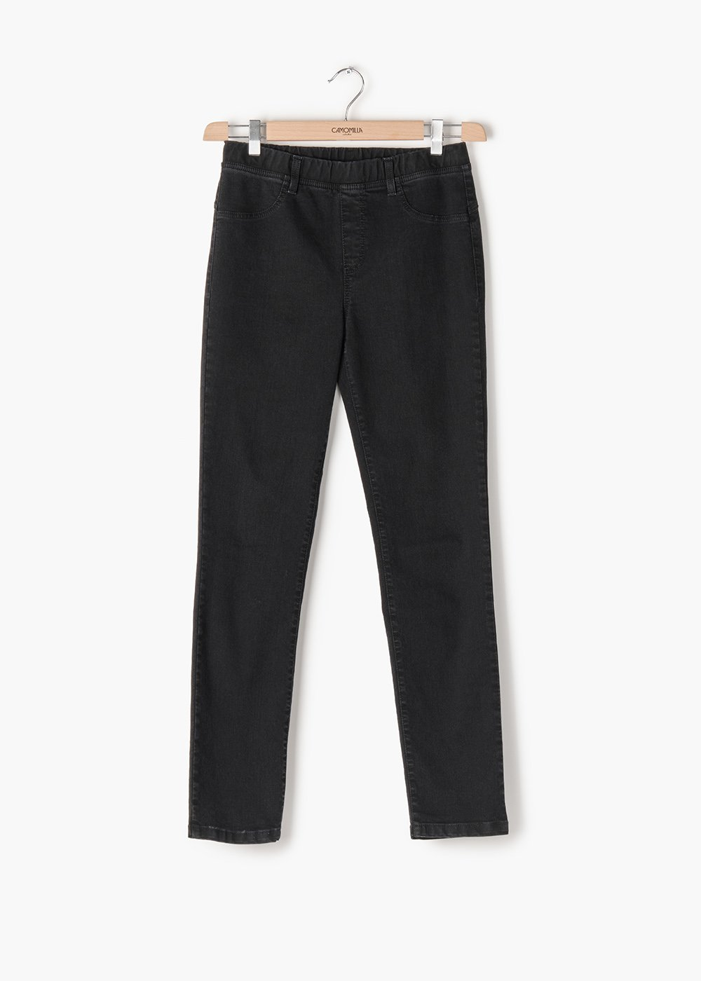 Kelly jeggings in stretch denim with matching elastic band - Black - Woman
