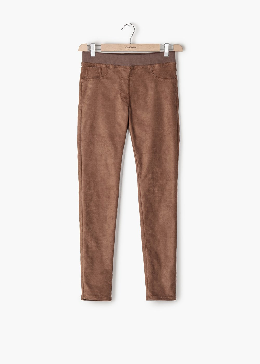 Kelly pants in eco-suede with matching elastic band - Tobacco - Woman