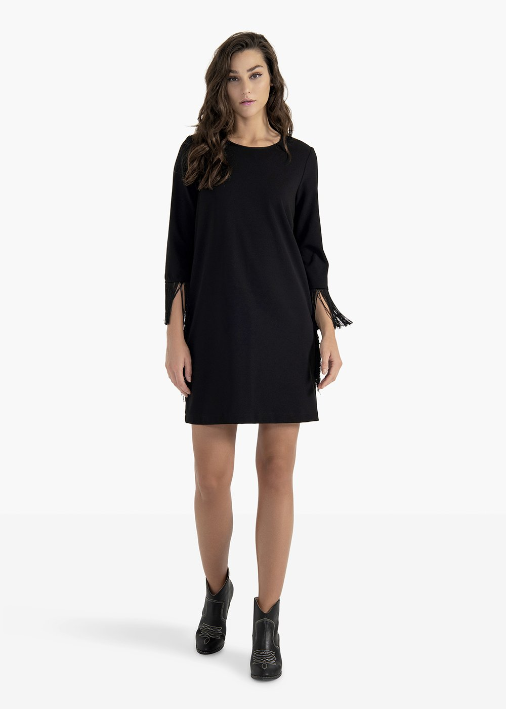 Artur crêpe dress with round neckline - Black - Woman