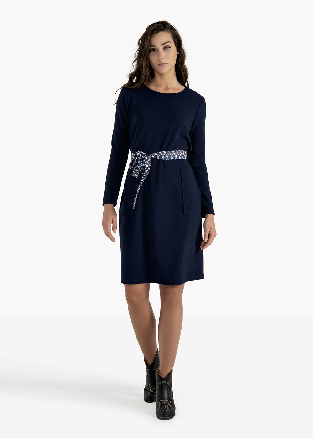 Amos crêpe dress with fancy belt - Medium Blue - Woman